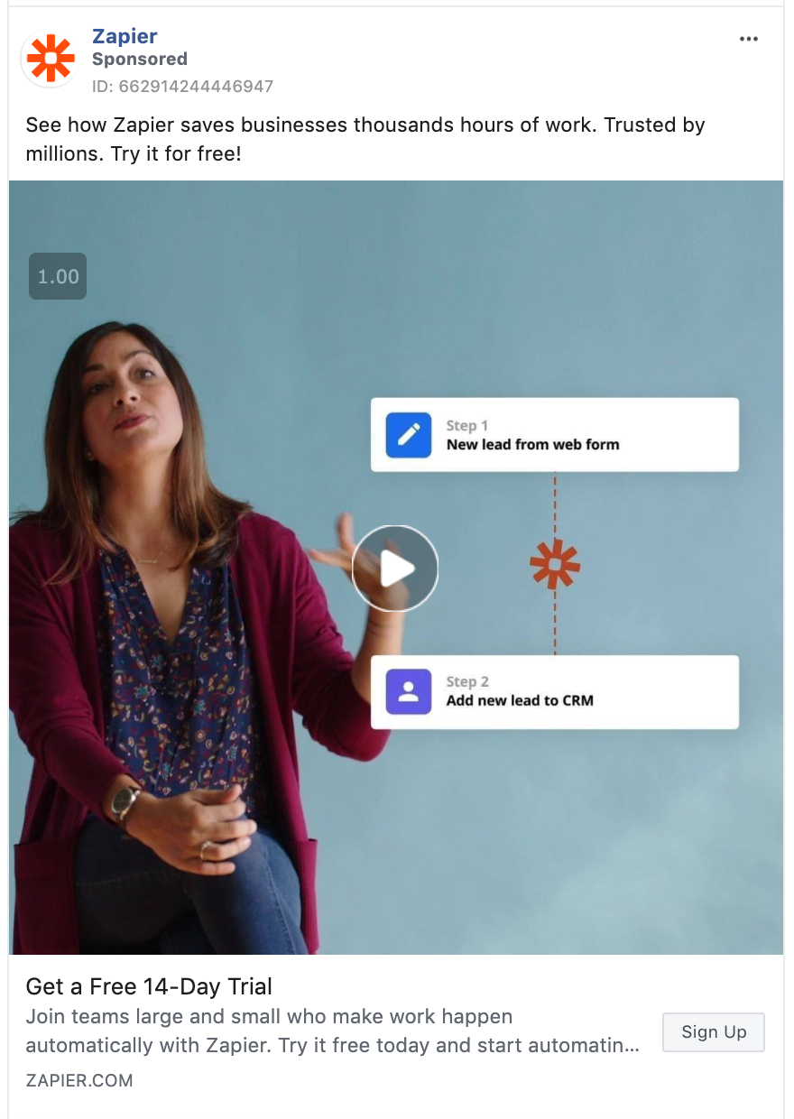Screenshot of a Zapier video ad promoting their free trial.