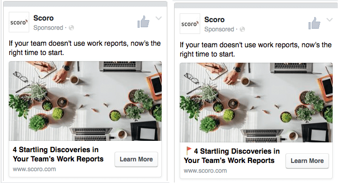 Screenshots of two Facebook Ads (one with emoji and one without) that were used in an A/B testing campaign.