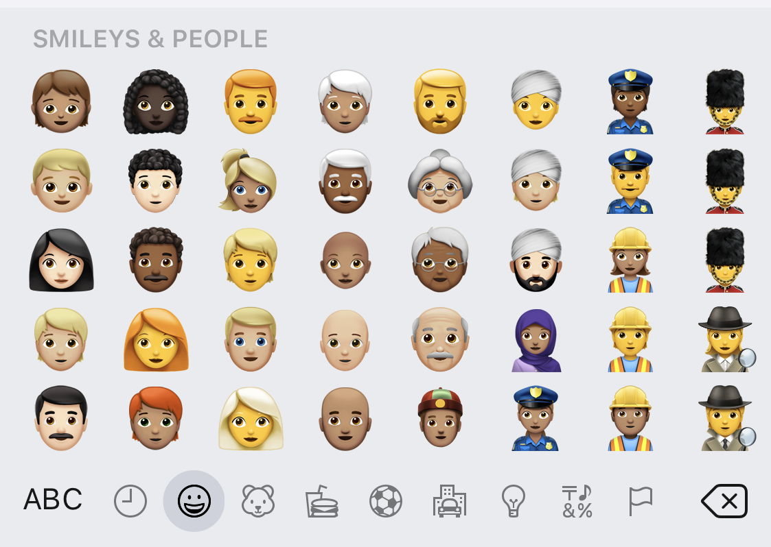 Screenshot of the Smileys & People emoji on iOS.