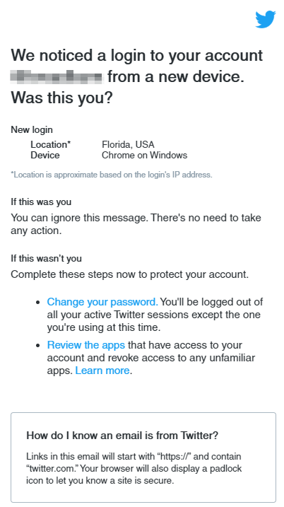 potential hacked twitter account notification
