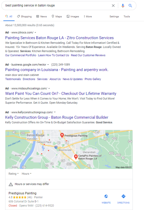 an example of Google's local search results for best painting service in baton rouge