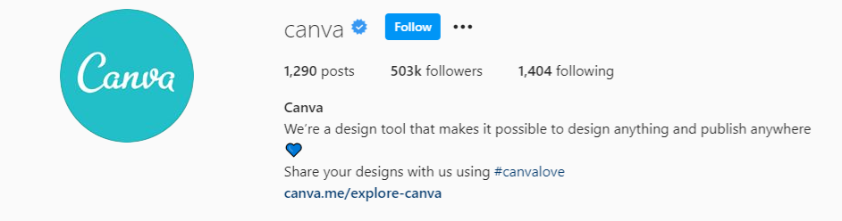 Instagram bio for Canva encouraging people to submit their designs using the #canvalove hashtag