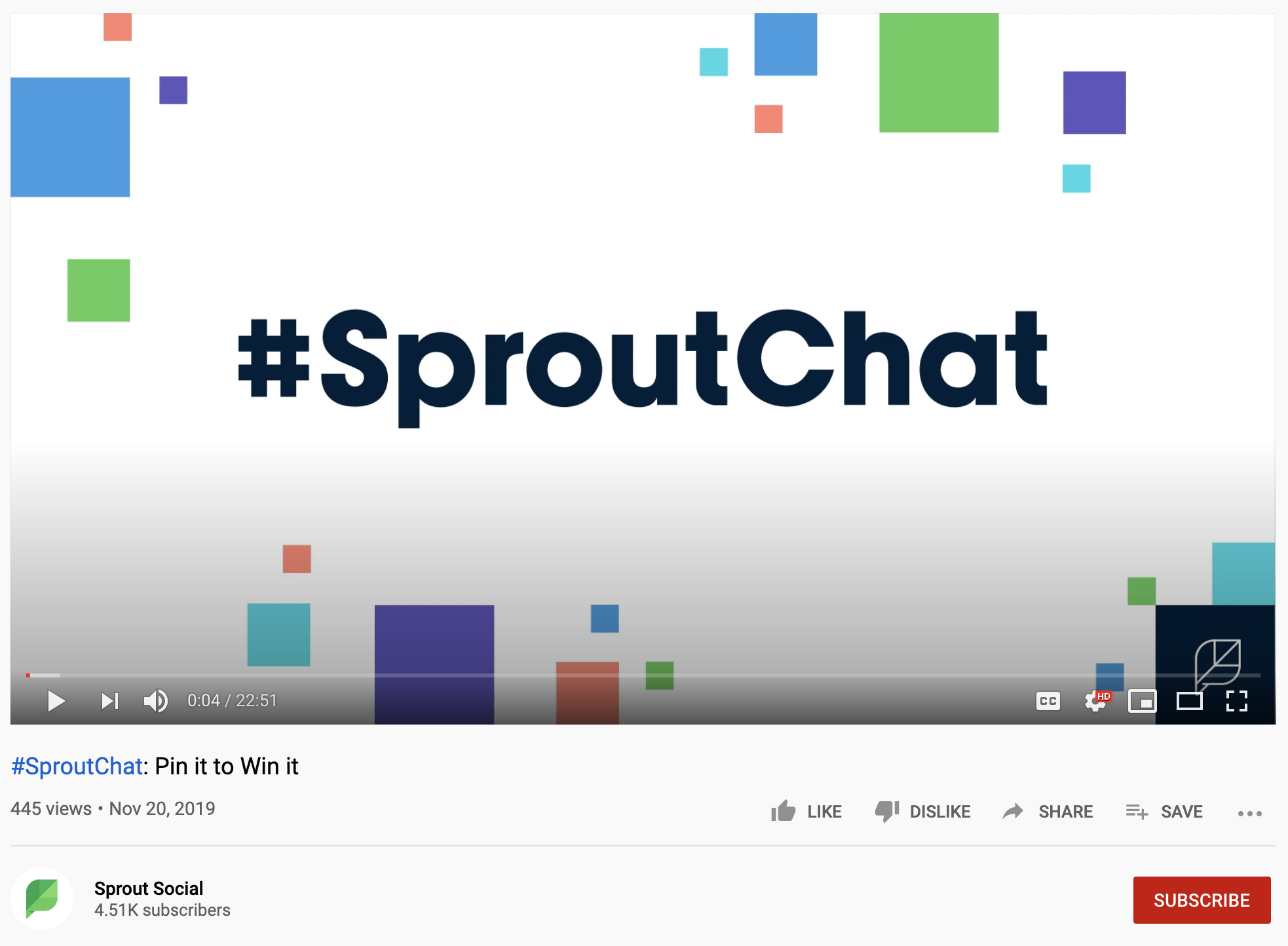 """A screenshot of a """"#SproutChat: Pin It to Win It"""" YouTube video."""