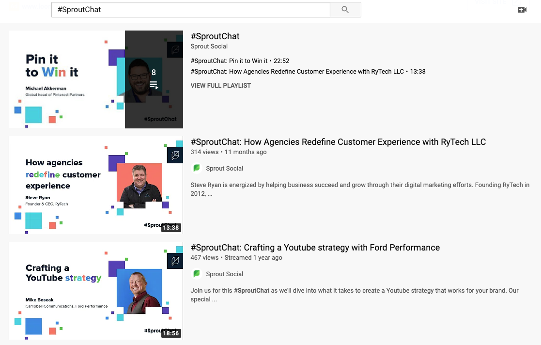 #SproutChat YouTube search result