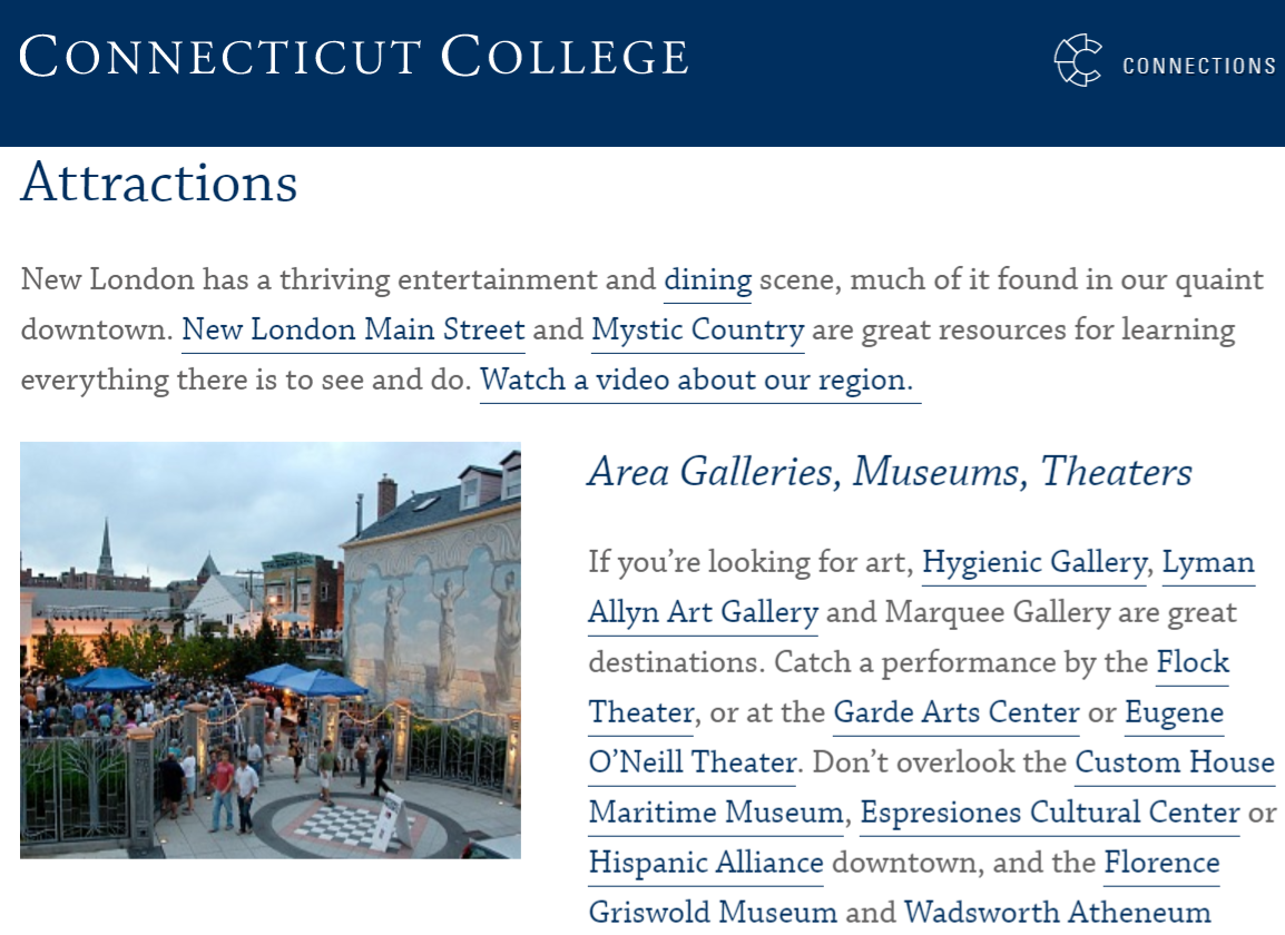 attractions page on the Connecticut College website that links out to local establishments