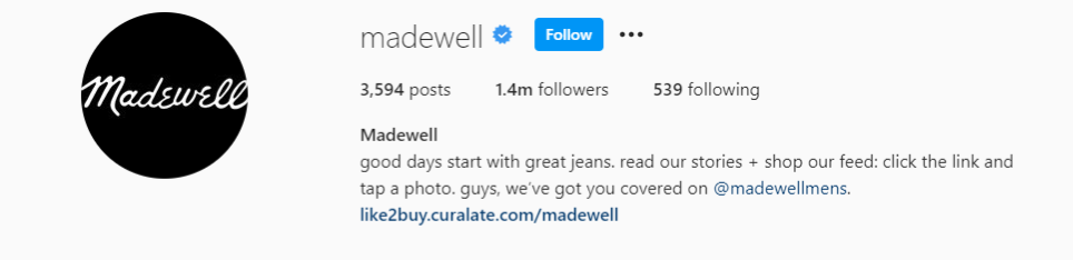 Instagram bio for Madewell with a link to their menswear Instagram handle