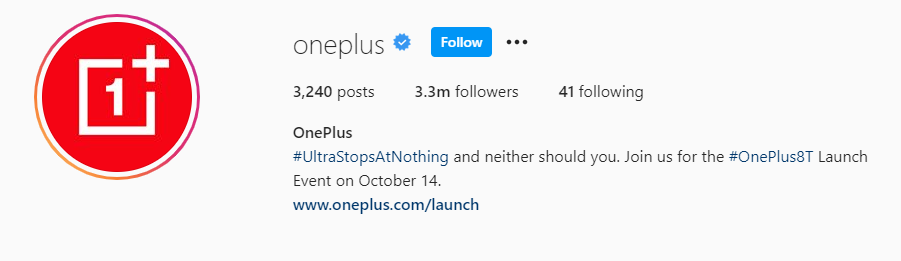 Instagram bio for OnePlus with a hashtag for the new oneplus 8t model