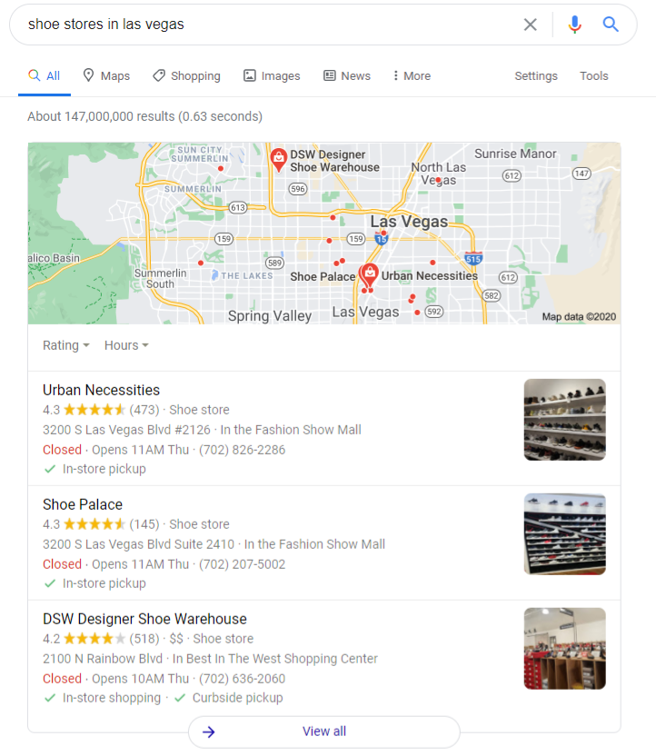 An example of Google's local snack pack results for shoe stores in las vegas. These are the listings that appear under the map.