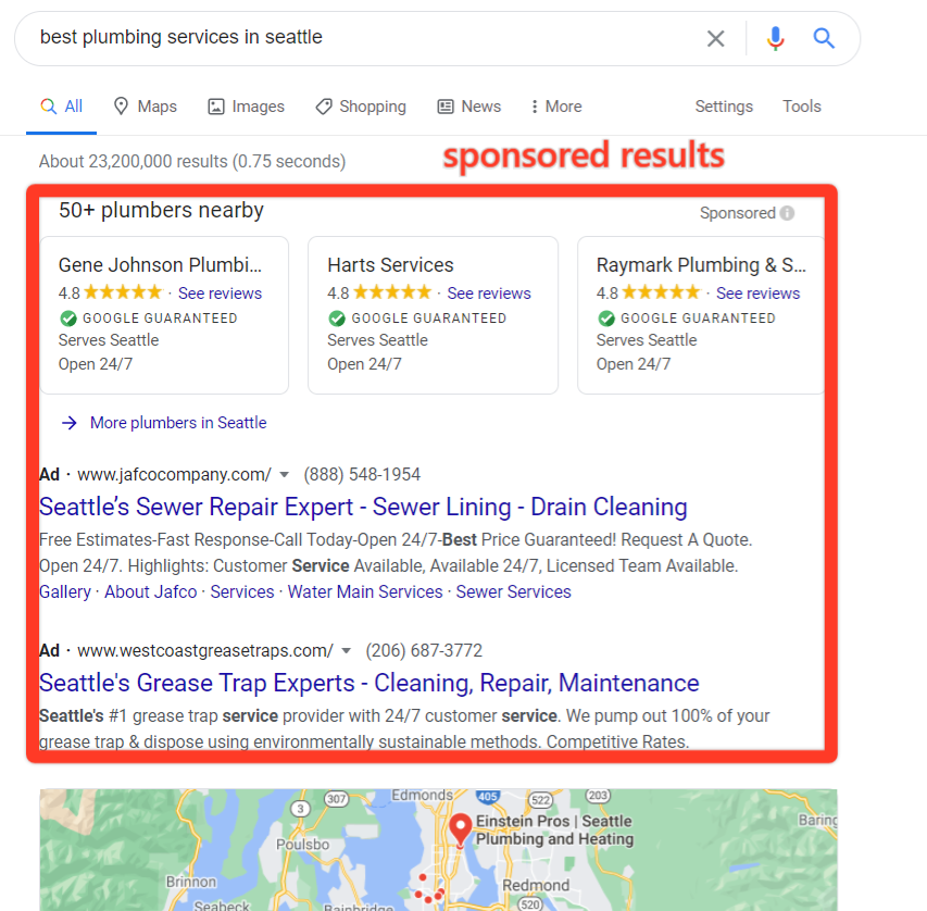 Google's local SERP for painting service in seattle, and a red box highlighting the sponsored results