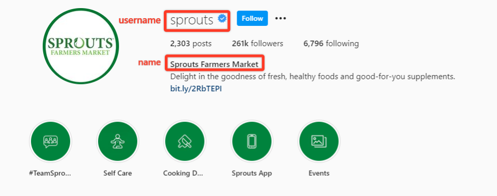 Instagram bio for Sprouts farmers market highlighting differences in username and name