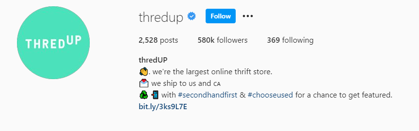 Instagram bio for thredUP with info spaced in a list format and using emojis
