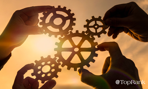 Hands holding gears and cogs image.