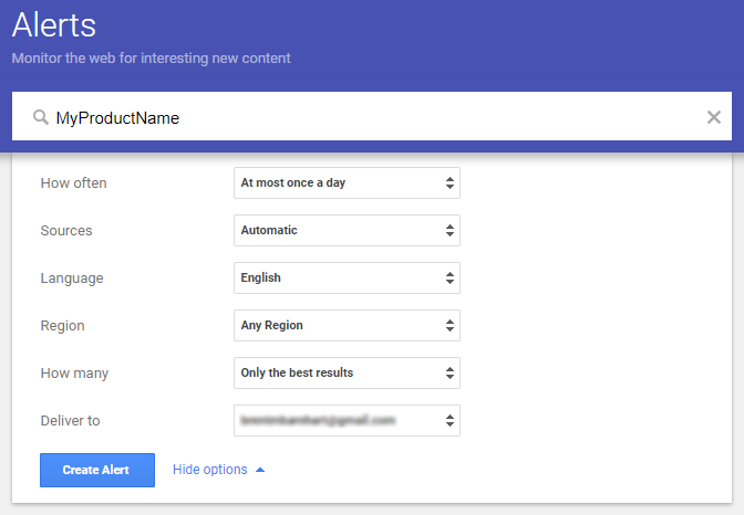 Google alerts make it easy to track branded keywords via search
