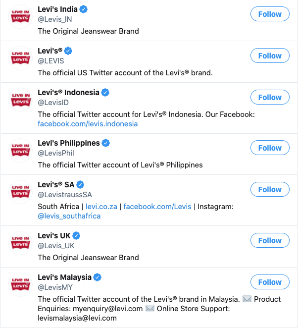 Screenshot of Levi's multiple Twitters accounts, which can assist in their international marketing efforts by country
