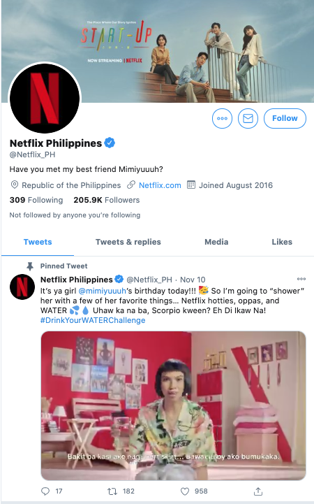 View of Netflix Philippines's Twitter account that targets their local audience's interests.