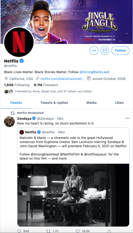 View of Netflix US's Twitter account that targets their local audience's interests.