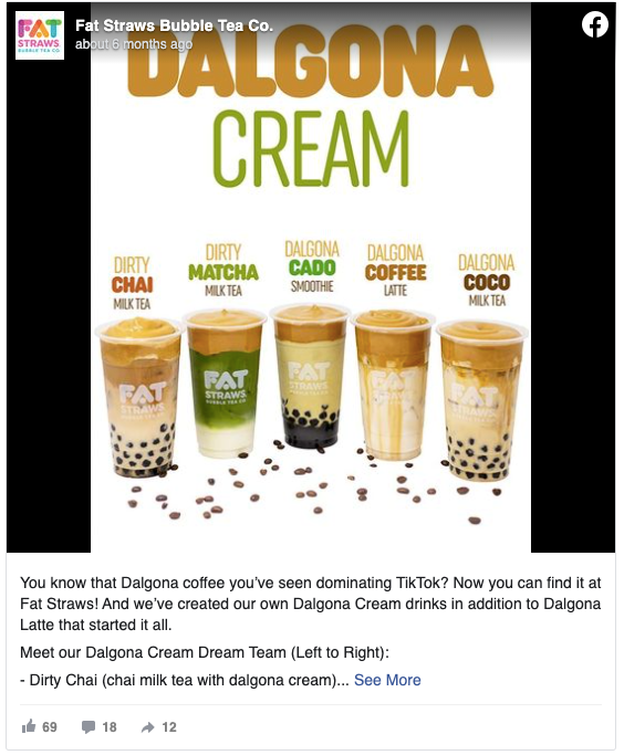 Fat Straws' post on new drinks inspired by the dalgona coffee trend
