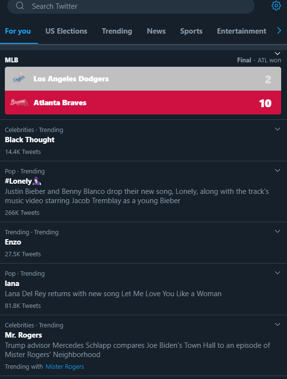 "Twitter ""for you"" tab gives you real-time personalized updates of trending topics and hashtags"