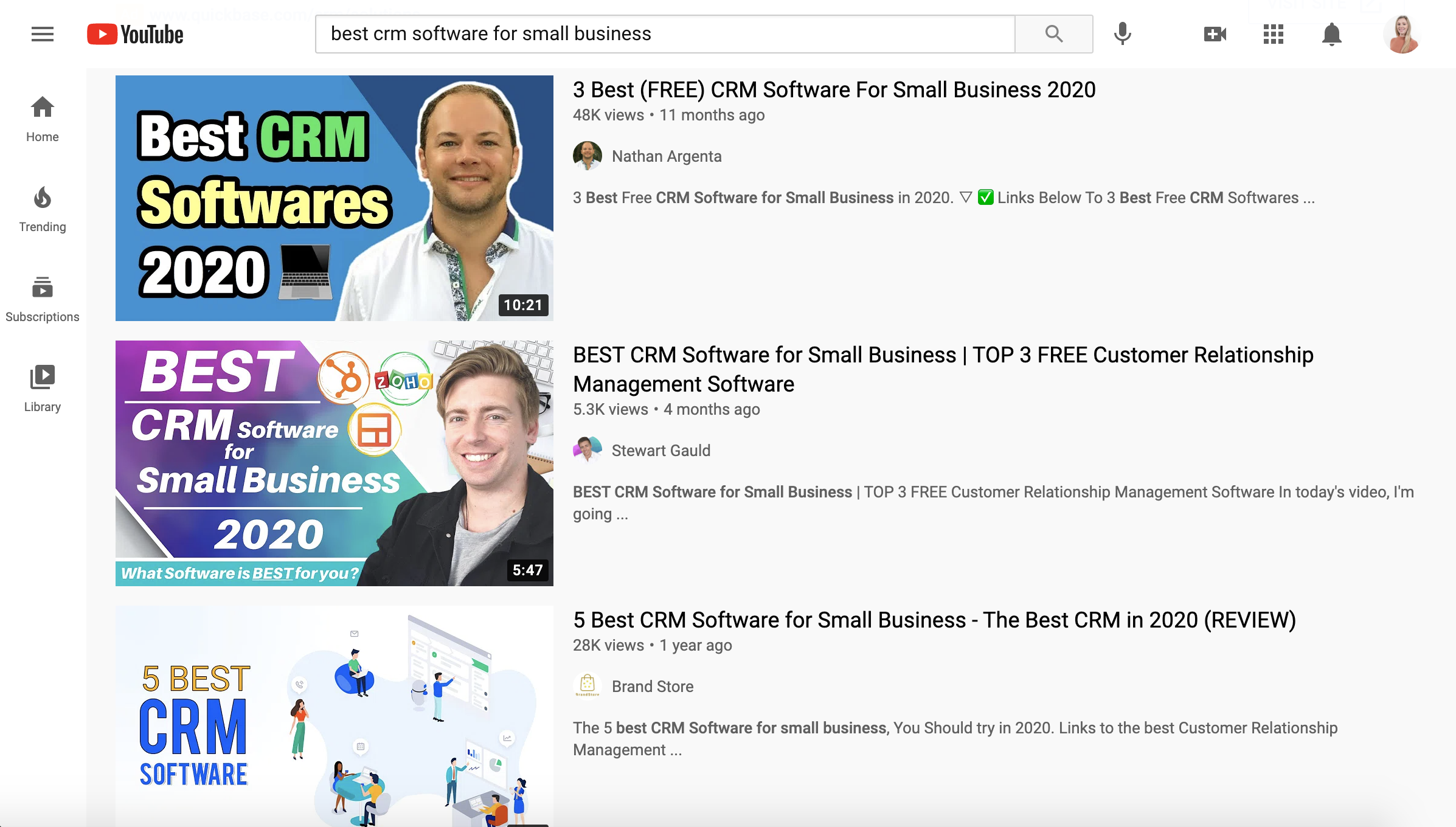 Youtube CRM Software Search Results