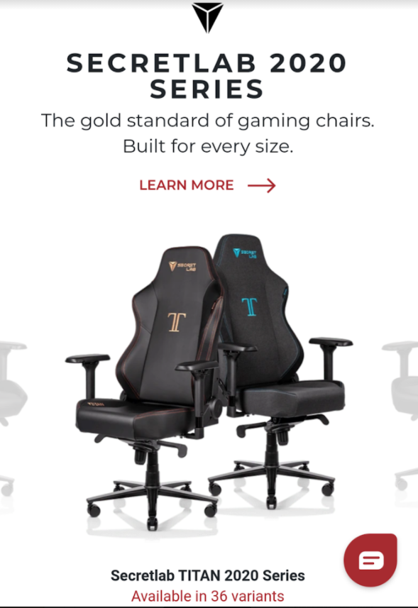 secretlab's marketing messages center around comfort and style