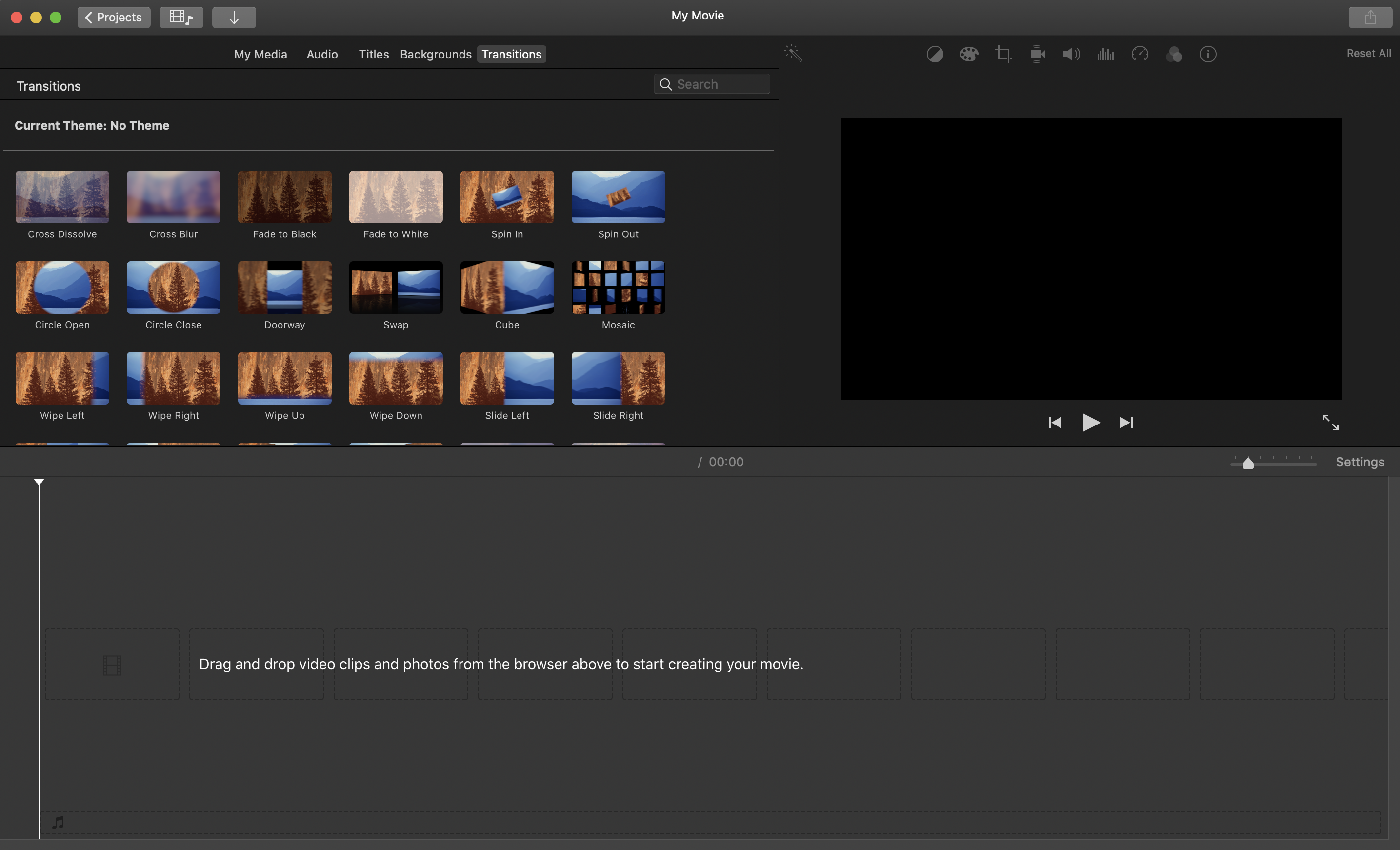 A screenshot of iMovie's transition effect library in its software.