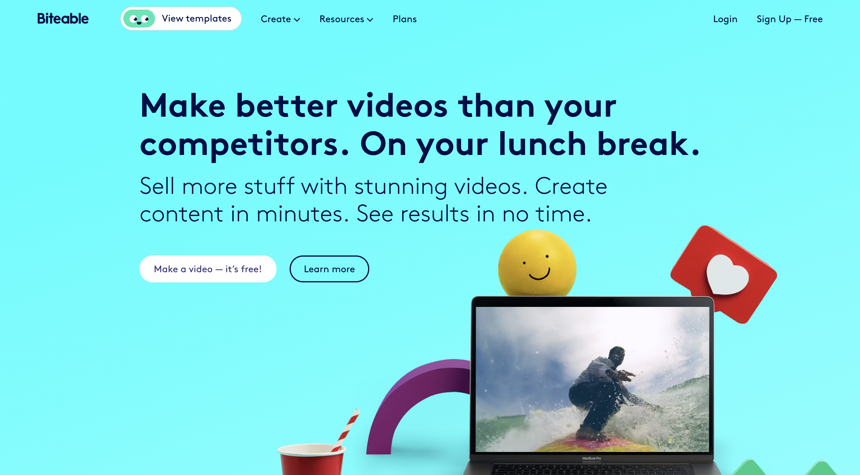A screenshot of video editing tool Biteable's website.