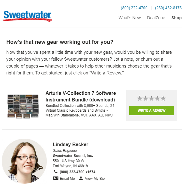 sweetwater customer retention email