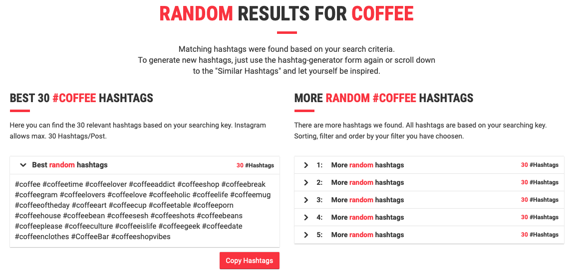 allhashtags results for coffee related hashtags