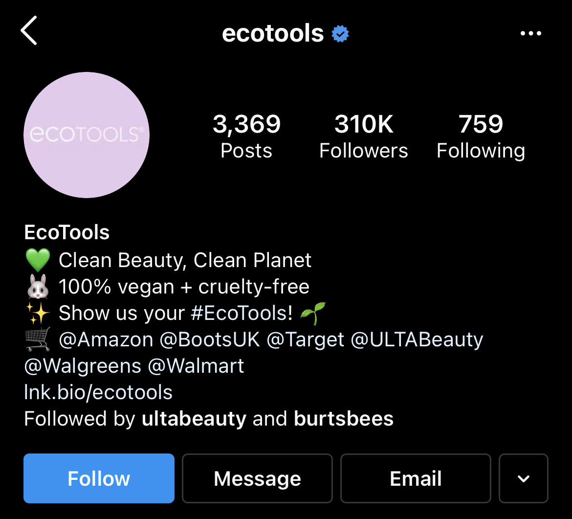 ecotools CTA in bio to use branded hashtag